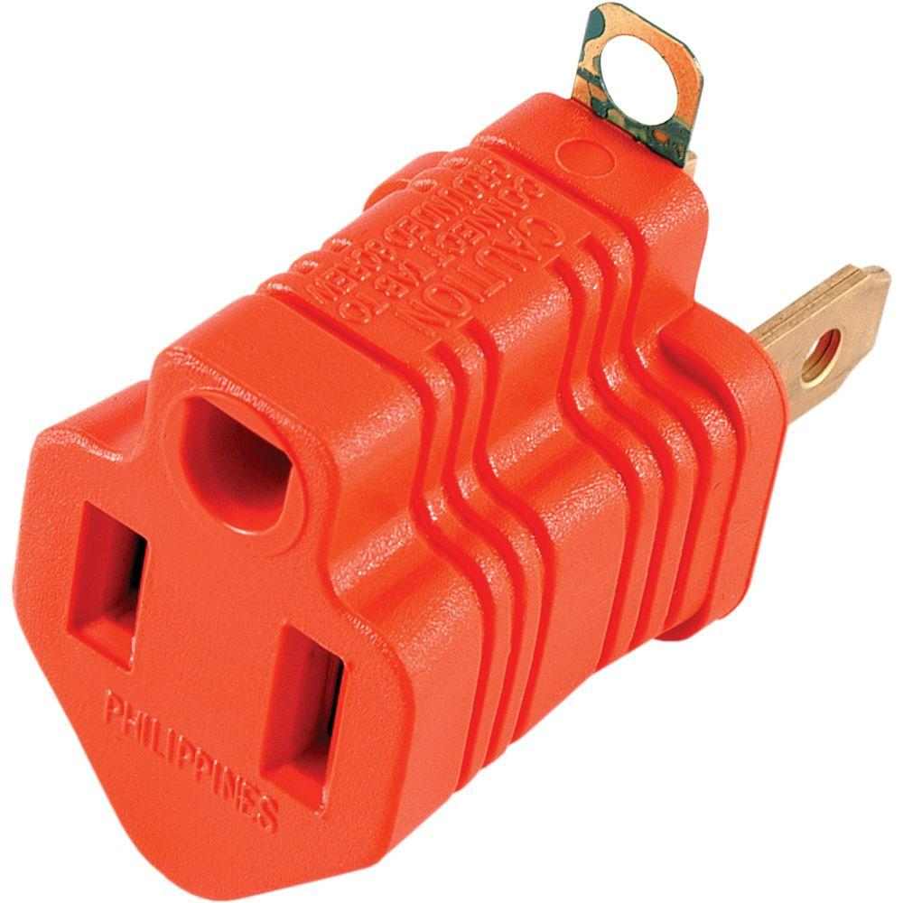 2 Non-Grounded to Grounded Plug Adapter Convert 3-Prong Plug to 2-Prong 15 AMP