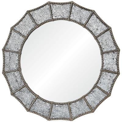 Medium Round Silver Antiqued Glam Mirror (32 in. Diameter)