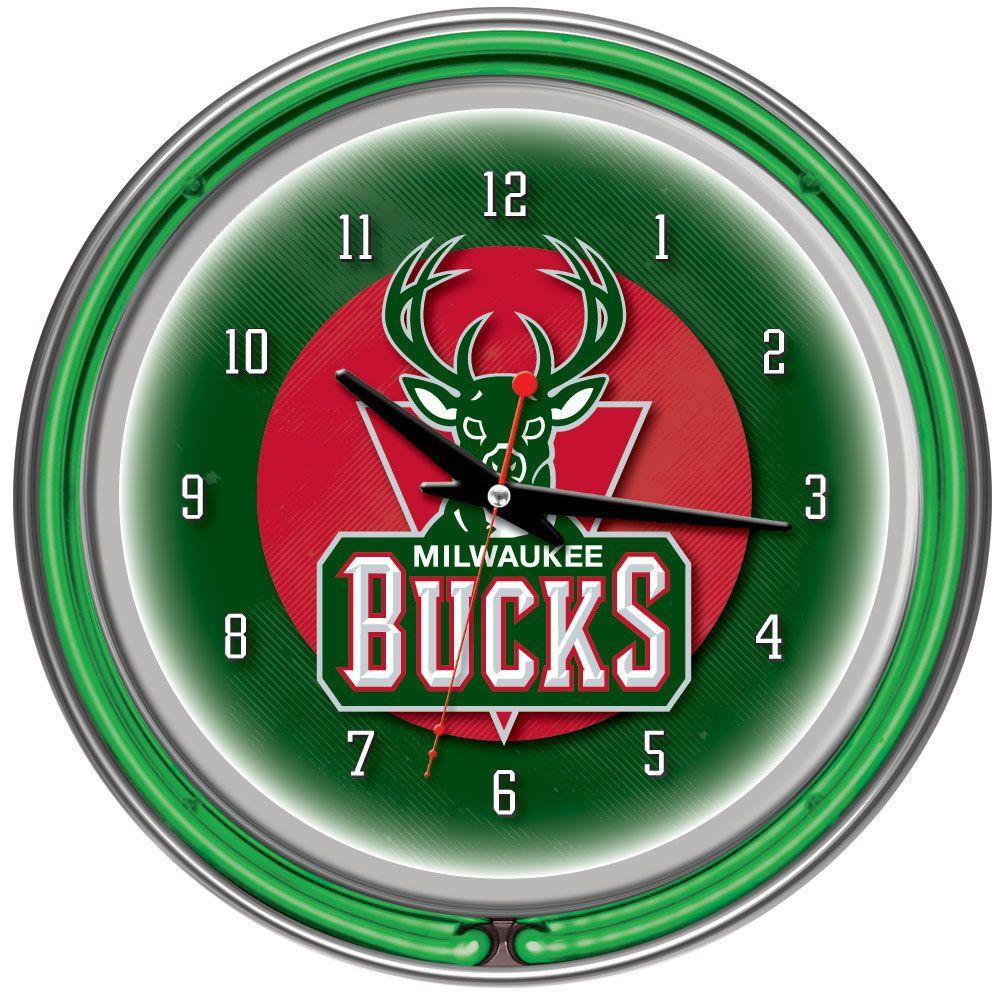 Trademark Global 14 in. Milwaukee Bucks NBA Chrome Double Ring Neon Wall Clock