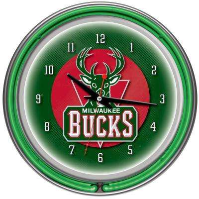 14 in. Milwaukee Bucks NBA Chrome Double Ring Neon Wall Clock