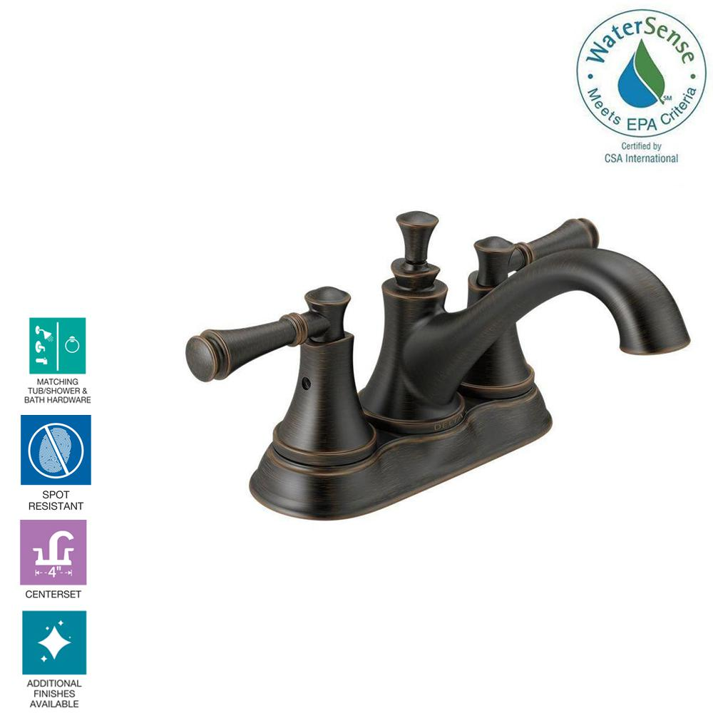Delta Silverton 4 In Centerset 2 Handle Bathroom Faucet In