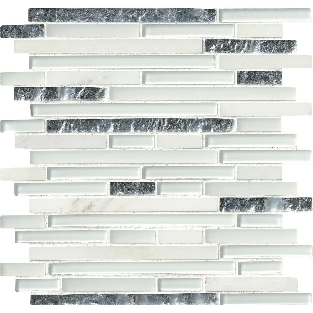 Cristallo Interlocking 12 in. x 12 in. Glass/Stone Mesh-Mounted Wall Tile