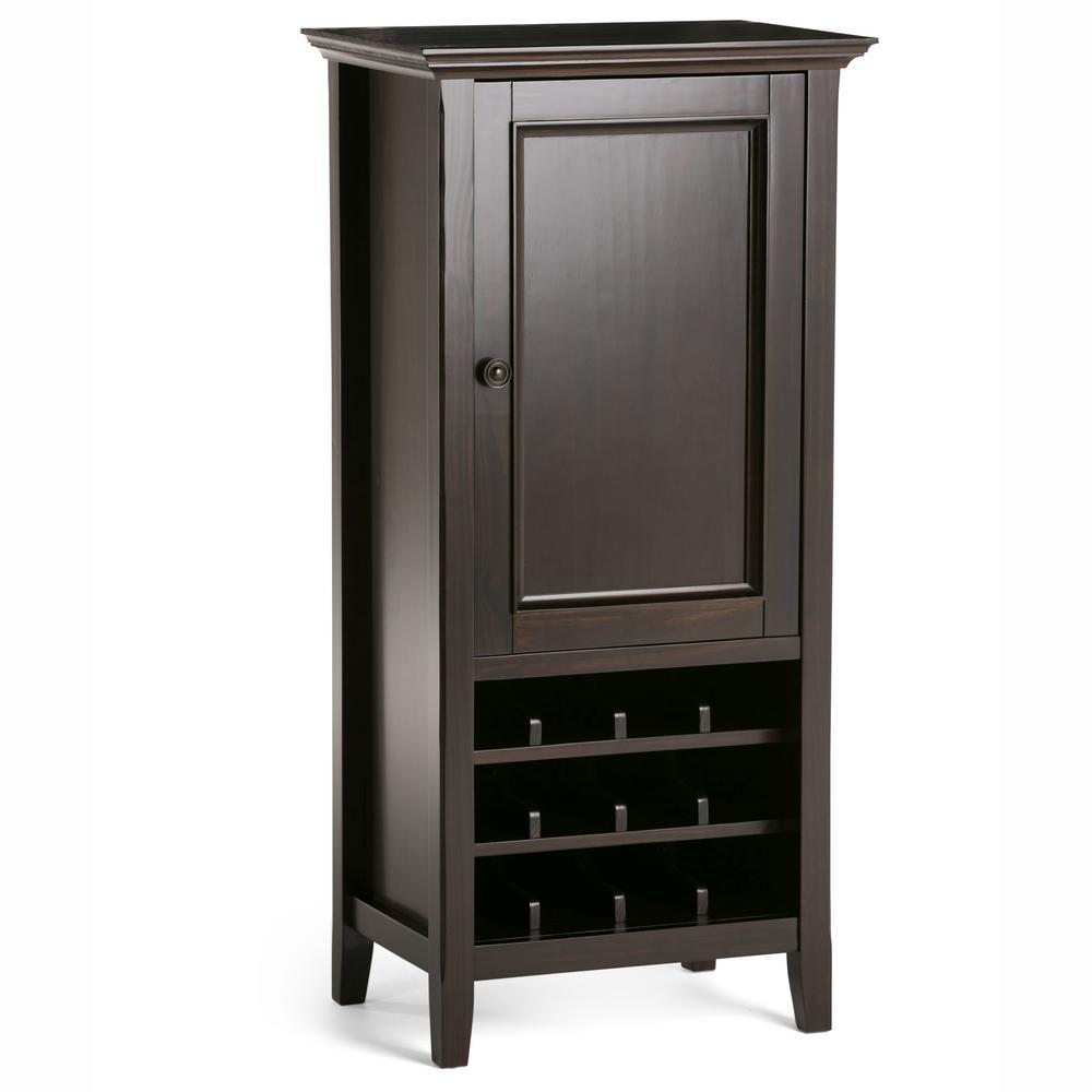 Amherst 12-Bottle Solid Wood High Storage Wine Rack in Dark Brown
