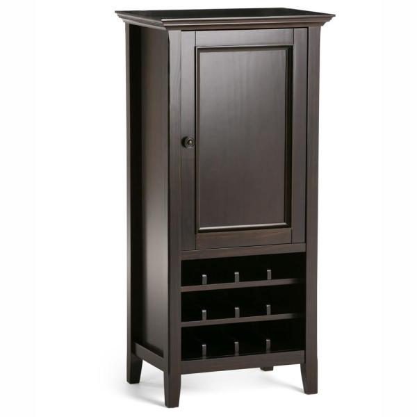 Washington 12-Bottle Solid Wood 24 in. Hickory Brown Wide Transitional High Storage Wine Rack Cabinet