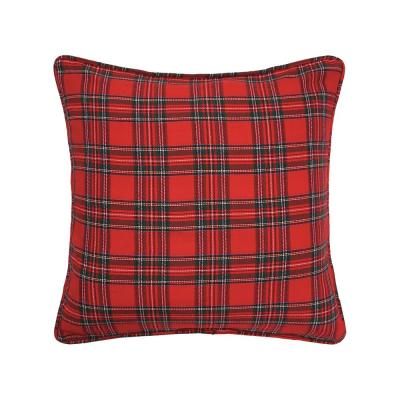 Red Arlington Plaid 20 in. x 20 in. Standard Throw Pillow
