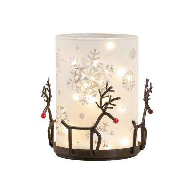 Reindeer Luminaria 6 in. Rustic Iron and Frosted White Glass Candle Holder