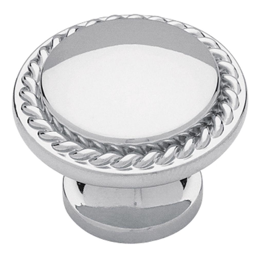 Polished Chromed Rope Edge Cabinet Knob