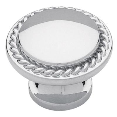 Roped Edge 1-1/8 in. (28mm) Polished Chrome Round Cabinet Knob