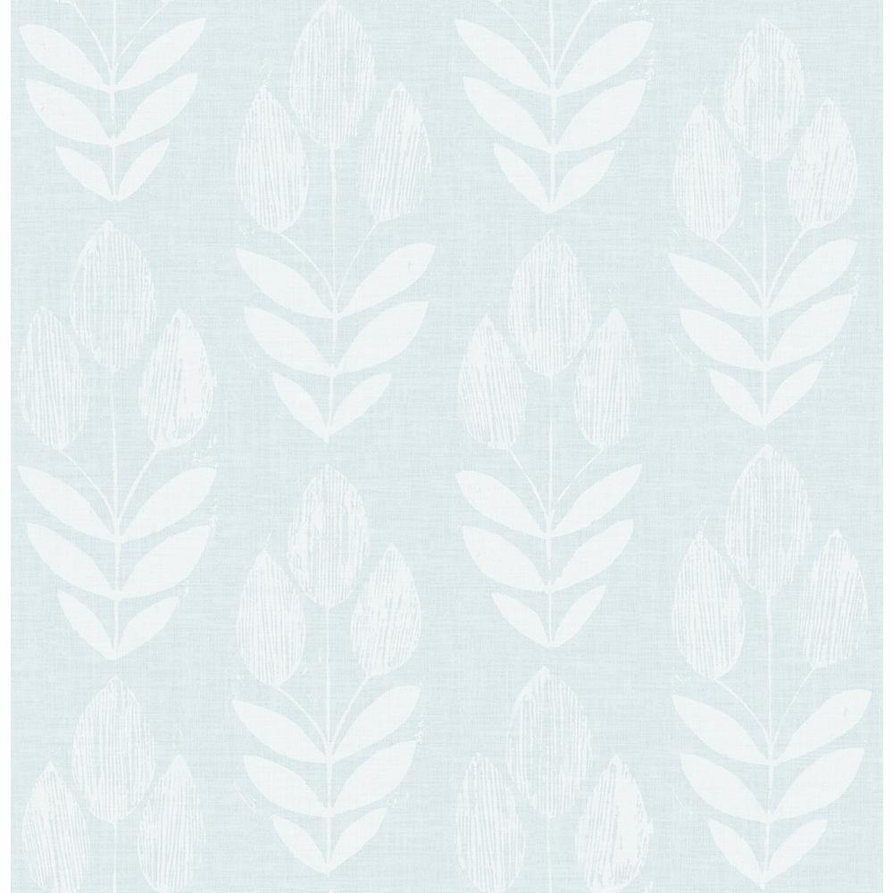 56.4 sq. ft. Garland Light Blue Block Tulip Wallpaper