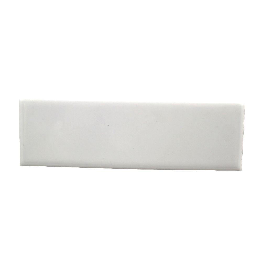 Daltile Semi-Gloss White 2 in. x 6 in. Ceramic Bullnose Radius Cap Wall Tile
