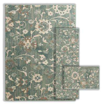 Floral Blue 4 ft. 11 in. x 6 ft. 6.7 in. 3-Piece Indoor Rug Set