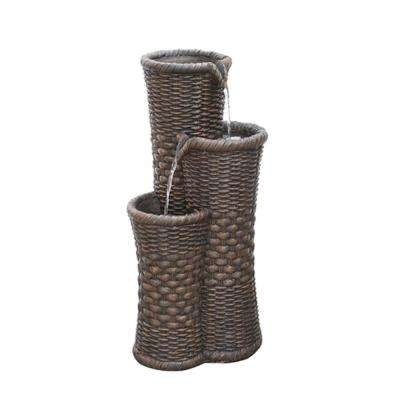 27.25 in. Brown Woven 3-Tier Water Fountain