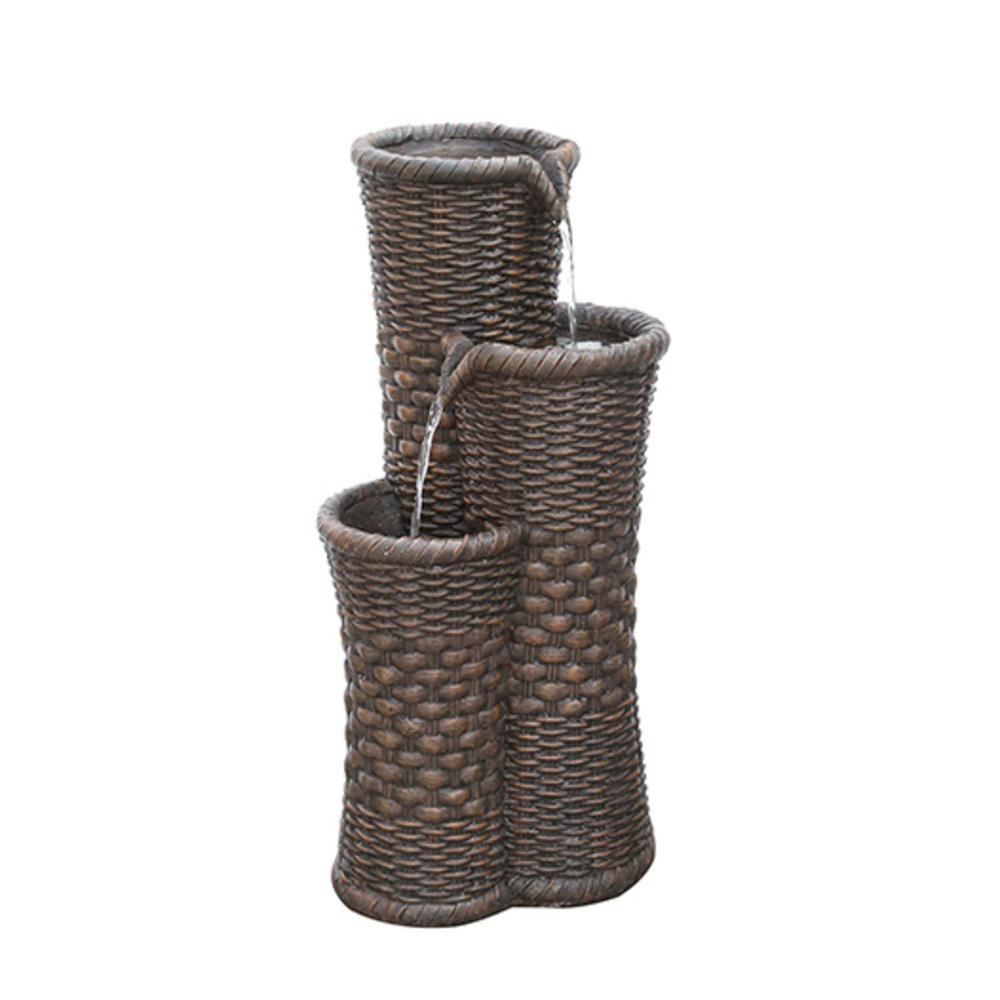 Northlight 27.25 in. Brown Woven 3-Tier Water Fountain