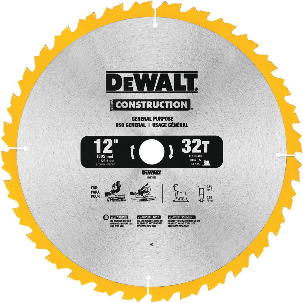 Construction 12 in. 32-Teeth Thin Kerf Miter Slide Miter Blade