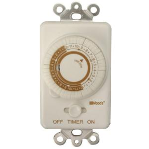 Woods 24-Hour In-Wall Mechanical Programmable Timer - White by Woods
