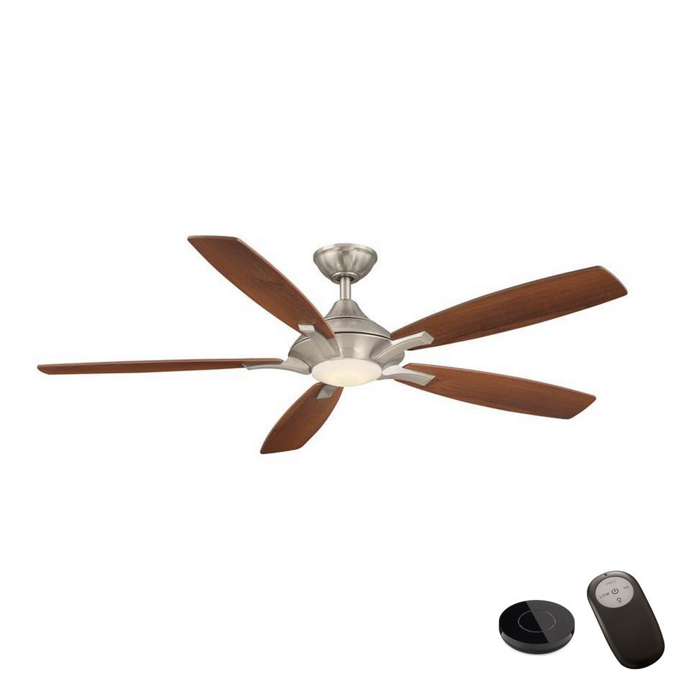Home Decorators Collection Petersford 56 in. Integrated LED Brushed Nickel Ceiling Fan with Remote Control works with Google and Alexa