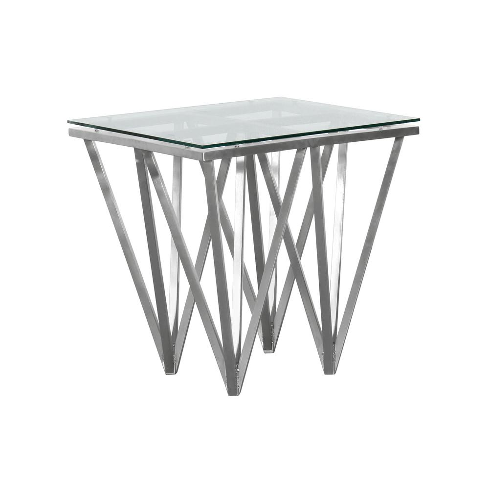 Cascade Armen Living Tempered Glass Top Contemporary Square End Table In  Brushed Stainless Steel