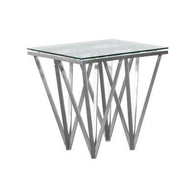 Armen Living Tempered Glass Top Contemporary Square End Table in Brushed Stainless Steel