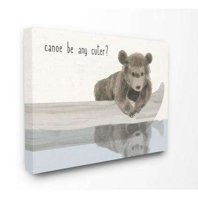 "30 in. x 40 in. ""Canoe Be Any Cuter Soft Nursery Neutral Baby Bear"" by Daphne Polselli Canvas Wall Art"
