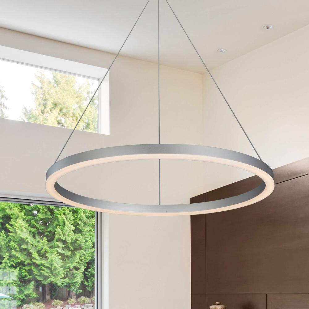 Vonn Lighting Tania Collection 36 Watt Silver Integrated Led Adjule Hanging Modern Circular Chandelier 24