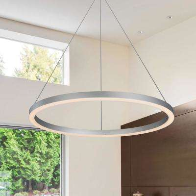 Tania Collection 36 Watt Silver Integrated Led Adjule Hanging Modern Circular Chandelier 24 In
