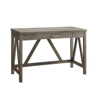 46 in. Grey Wash Rustic Farmhouse A-Frame Computer Writing Desk with Drawer