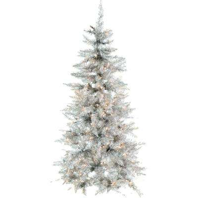 7 ft. Festive Silver Tinsel Christmas Tree with Clear LED Lighting