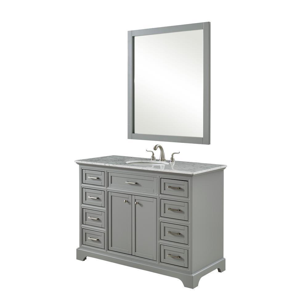 Easton 48 In. Single Bath Vanity W/ 8 Drawers 1 Shelf 2 Doors; Marble Top; Porcelain Sink; Light