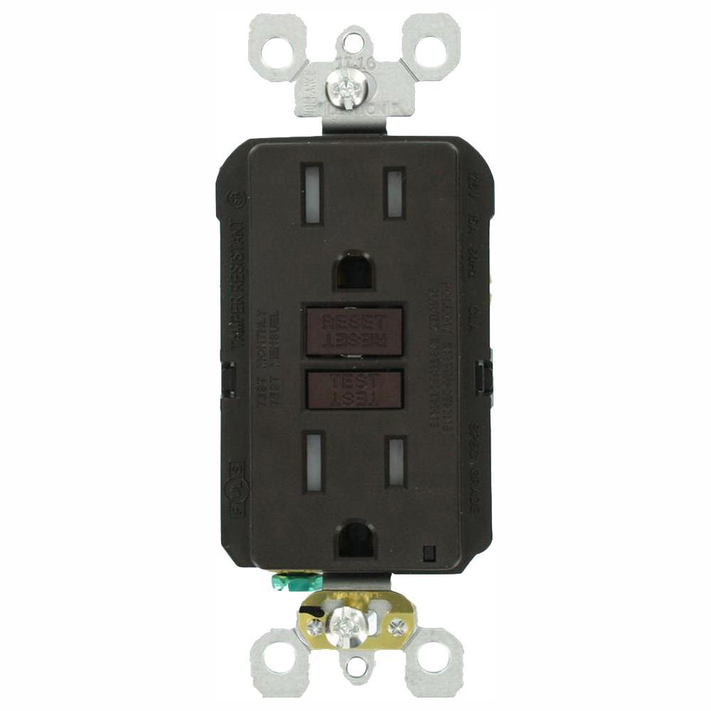 15 Amp 125-Volt Duplex SmarTest Self-Test SmartlockPro Tamper Resistant GFCI Outlet, Brown (3-Pack)