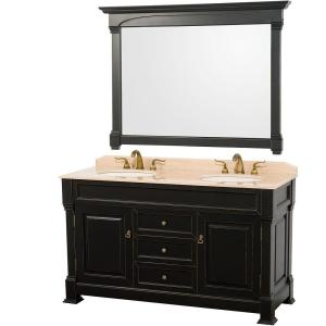 Wyndham Collection Andover 60 inch Vanity in Antique Black with Double Basin Marble Vanity Top in Ivory and Mirror by Wyndham Collection