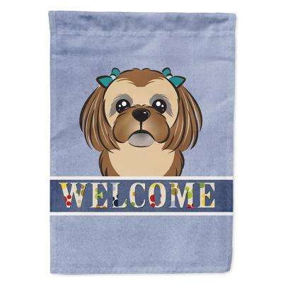 11 in. x 15-1/2 in. Polyester Chocolate Brown Shih Tzu Welcome 2-Sided 2-Ply Garden Flag