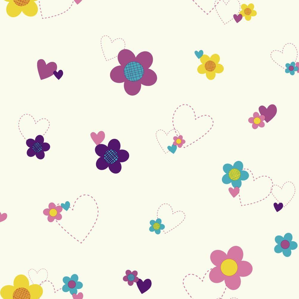 York Wallcoverings Walt Disney Kids Ii Flower And Hearts
