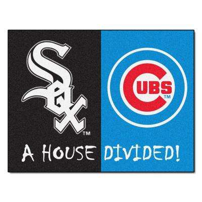 MLB White Sox/Chicago Cubs House Divided Black 3 ft. x 4 ft. Area Rug