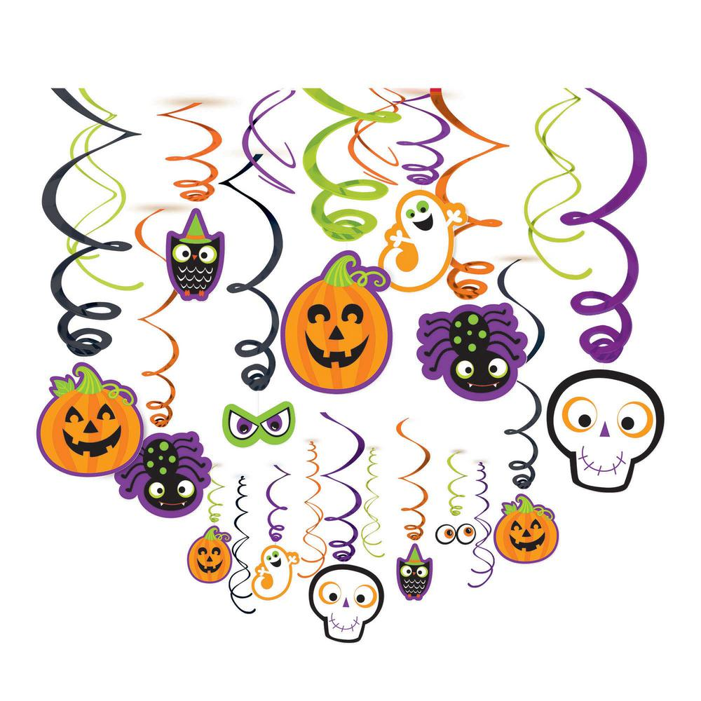 17 in. Friendly Halloween Foil Swirl Decoration (30-Count, 2-Pack)