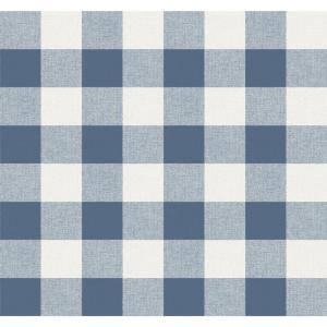 Coastal Blue Picnic Plaid Wallpaper