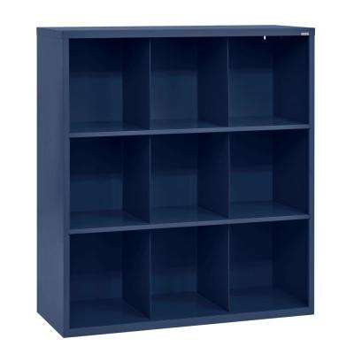 52 in. H x 46 in. W x 18 in. D Navy Blue 9-Cube Cubby Organizer