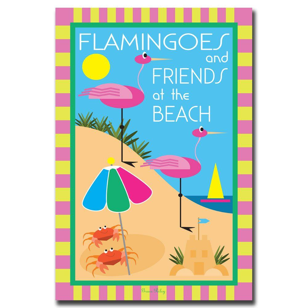 24 in. x 32 in. Flamingoes and Friends at the Beach