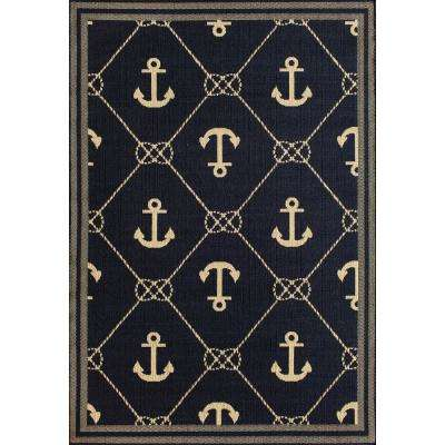 Anchor Blue/Cream 5 ft. 3 in. x 7 ft. 4 in. Indoor/Outdoor Area Rug