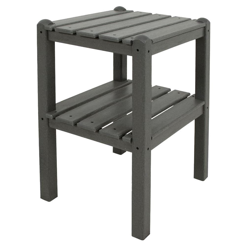 Slate Grey 2-Shelf Patio Side Table