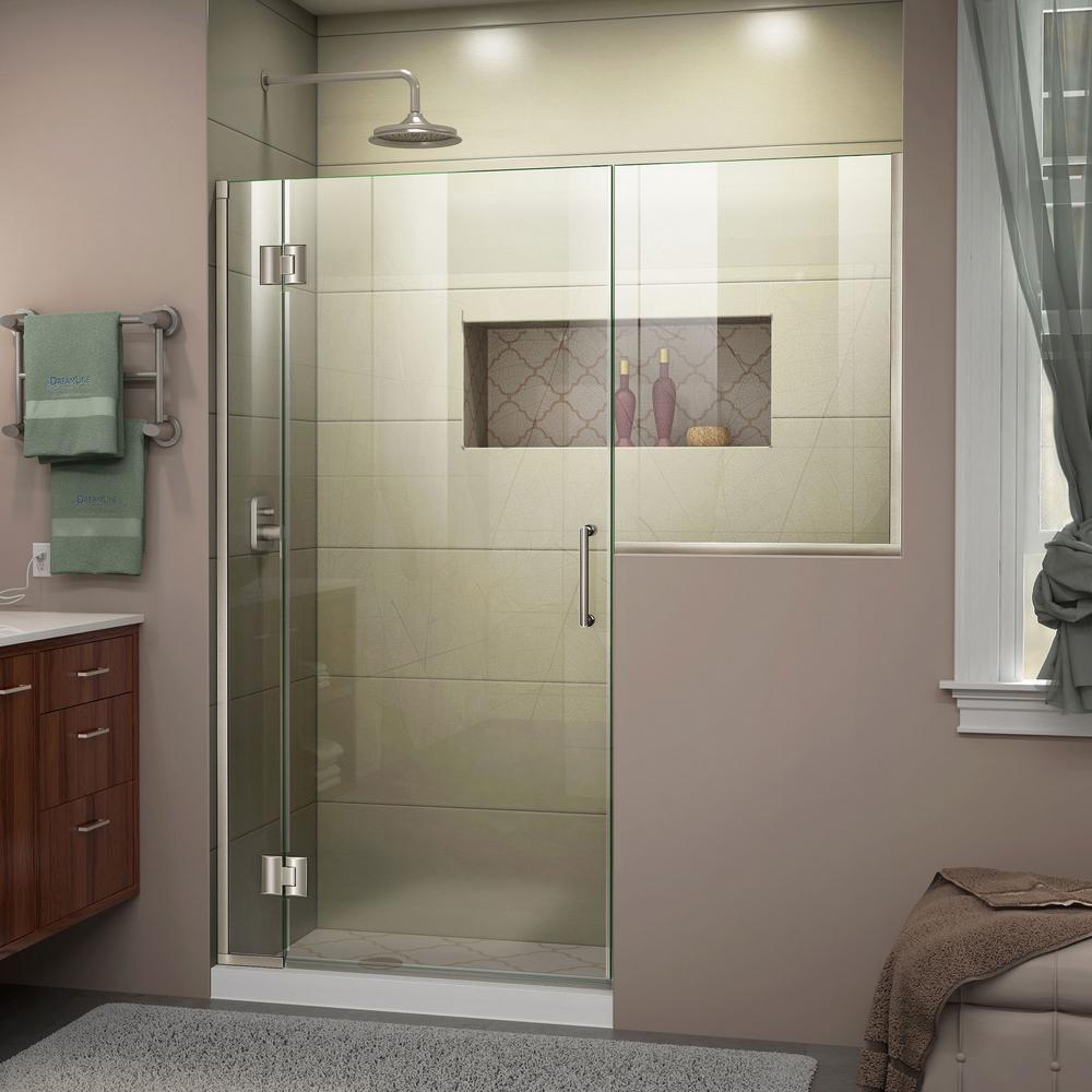 Unidoor-X 53 to 53.5 in. x 72 in. Frameless Hinged Shower Door in Brushed Nickel
