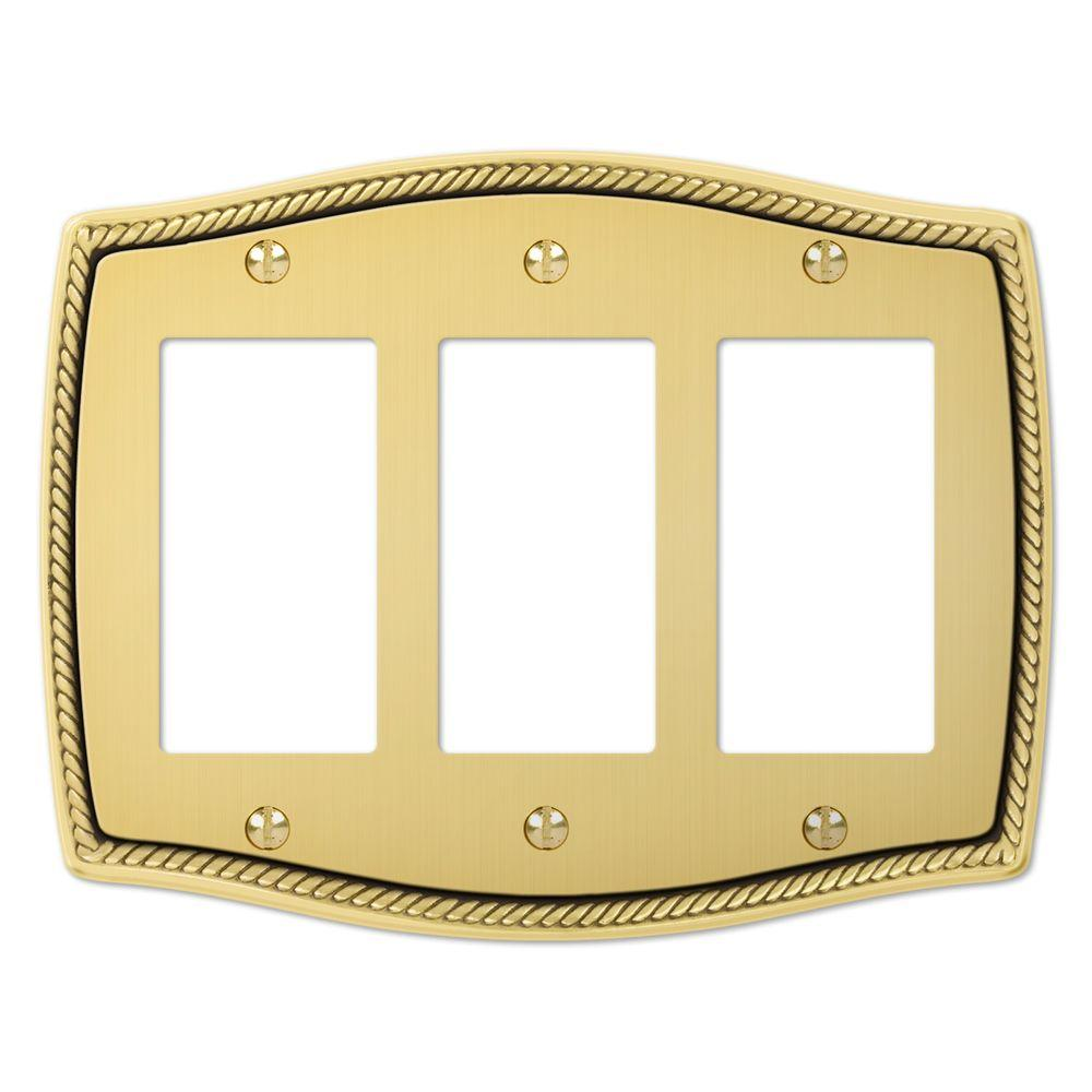 Creative Accents English Rope 3 Toggle Wall Plate - Antique Brass