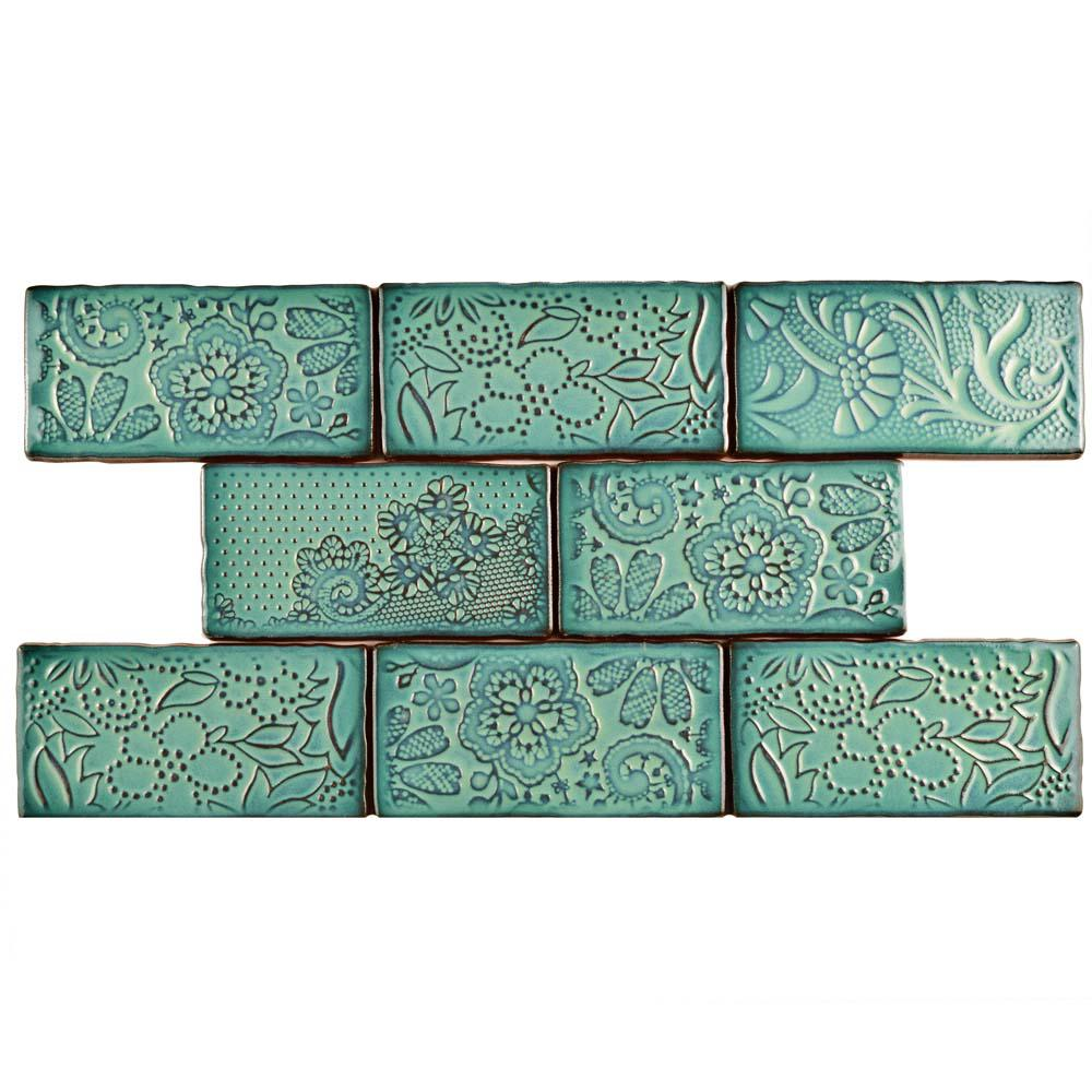 Turquoiseaqua ceramic tile tile the home depot antic feelings lava verde 3 in x 6 in ceramic wall tile 1 doublecrazyfo Gallery