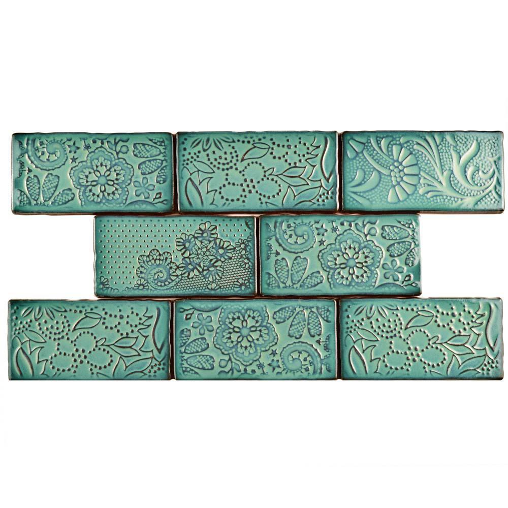 Antic Feelings Lava Verde 3 in. x 6 in. Ceramic Wall Tile (1 sq. ft. / pack)