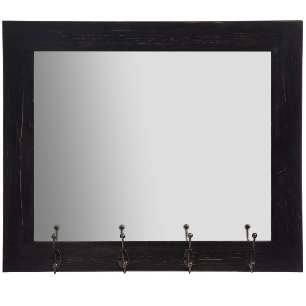 Rustic Entryway Hooks Rectangular Black Decorative Mirror