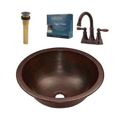 Darwin All-In-One Undermount or Drop-In Copper Sink Design Kit with Pfister Faucet and Drain in Bronze
