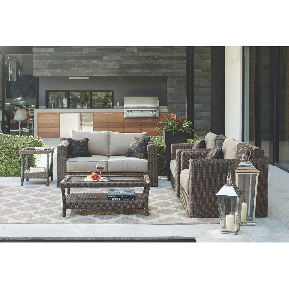 Home Decorators Collection Naples Dark 4 Piece All Weather Wicker Patio Deep Seating Set With Putty Cushions 9169910870 The Depot