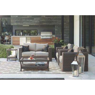 Naples Dark 4-Piece All-Weather Wicker Patio Deep Seating Set with Putty Cushions