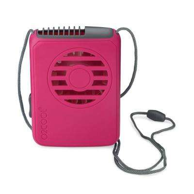 Deluxe 2.5 in. Necklace Personal Fan in Raspberry