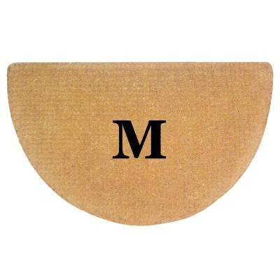 No Border 22 in. x 36 in. Heavy Duty Coir Monogrammed M Half Round Door Mat