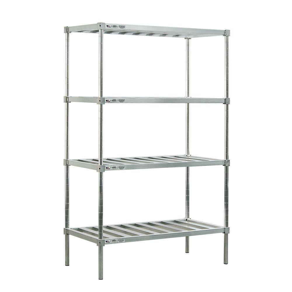 New Age Industrial 4-Shelf Aluminum T-BAR Style Adjustable Shelving
